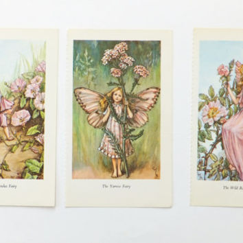 Three Cicely Mary Barker Prints, Flower Fairies Pictures, nursery decor
