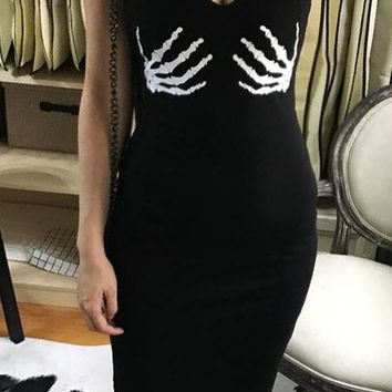 You Really Got Me Black Sleeveless Spaghetti Strap Skeleton Hand Print Bodycon Midi Dress