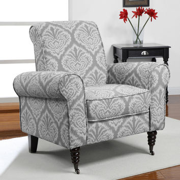 Grey Ikat Rolled Arms Arm Chair Chair  | Overstock.com