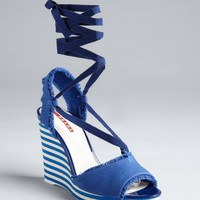 Prada Sport cobalt canvas striped wedge sandals