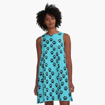 'Puppy Paws Allover Print Pattern' A-Line Dress by Greenbaby