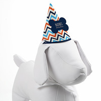 Chevron Boy Bruffday - Personalized Dog Birthday Party Hat - 8 ct