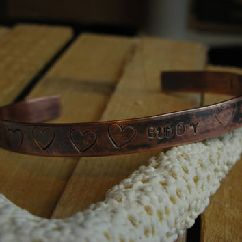 Copper Cuff Bracelet Pet Remembrance-I Carry You In My Heart