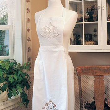 Embroidered Battenburg Lace White Cotton Apron
