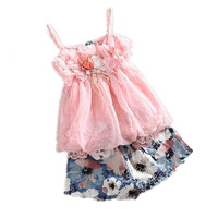 Spring Summer Little Girls Floral 2 Piece Short Set