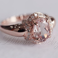 Unique Oval Cut 6x8mm VS Morganite Ring/ Engagement Ring/ 14K Rose Gold Diamonds Wedding Ring/ Promise Ring/ Anniversary Ring