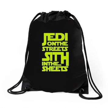 Jedi On The Streets Sith In The Sheets Drawstring Bags