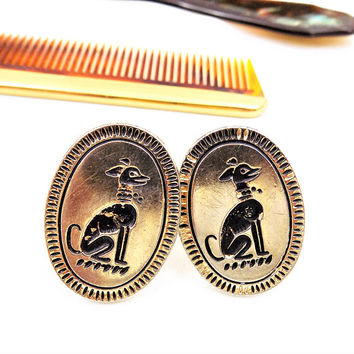 Swank Dog Cufflinks, Saluki, Greyhound, Sleek Hound, Gold Tone, Black Enamel, Vintage Accessories
