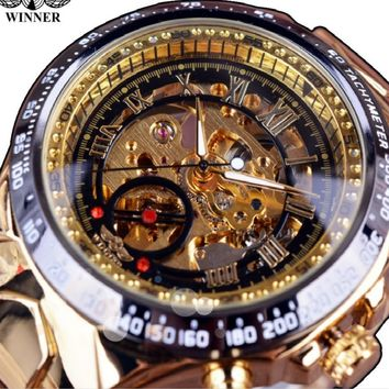 Winner Nytt Nummer Sport Design Bezel Guld- Klocka Mens Klockor Top Brand Luxury Montre Homme Clock Män Automatic Skelett Watch