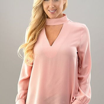 Savvy & Sophisticated Choker Top - Blush