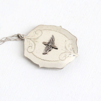 Vintage Sterling Silver Military Sweetheart Locket - Prop and Wings Aviator Etched WWII Air Force Necklace Jewelry