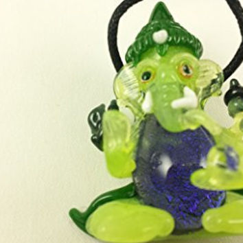 Ganesh (Green Slyme Body) - Glass Pendant Necklace