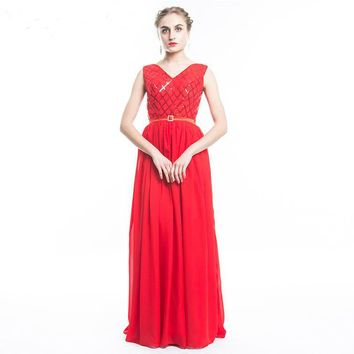 Elegant v neck back Lace up Red Evening Dress Long Sequined Chiffon Evening Gown formal long evening dress