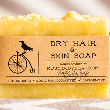 Dry Hair&Skin Soap - Rustic Soap, All Natural Soap, Handmade Soap, Homemade Soap, vegan soap, dry hair soap.