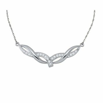 10kt White Gold Women's Round Diamond Twist Bar Fashion Pendant Necklace 1-3 Cttw - FREE Shipping (US/CAN)