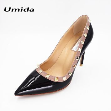 Umida Brands Women Pumps Hot Fashion Rivets Pointed Toe Thin High Heels 10CM Heels Pumps Genuine Leather Women Shoes Size 33-43