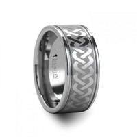 ARKON Celtic Knot Laser Engraved 10mm Tungsten Wedding Ring Wide