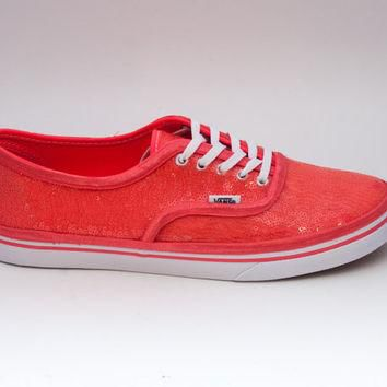 Sequin | Starlight Coral Custom Vans Canvas Lo Pro Sneakers Shoes