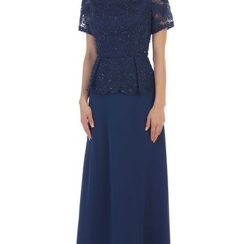 May Queen - Short Sleeve Embroidered Bateau Neck A-line Evening Dress
