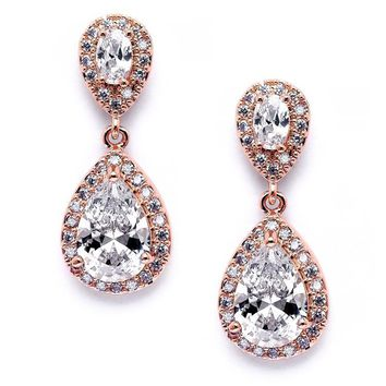 Lustrous Cubic Zirconia Teardrop Rose Gold Wedding Earrings