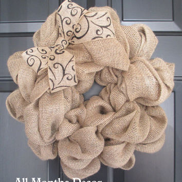 Natural Burlap Wreath with Scroll Print Burlap Bow, Rustic, Country, Spring, Easter, Summer Fall Winter, Year Round, Door Porch