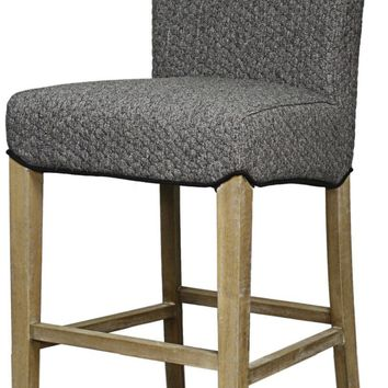 Milton Fabric Counter Stool Brushed Smoke Legs, Gray Honeycomb