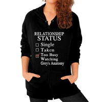 RELATIONSHIP STATUS WATCHING anatomy Zip Hoodie (on woman)