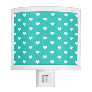 Mint White Hearts Pattern - Night Light