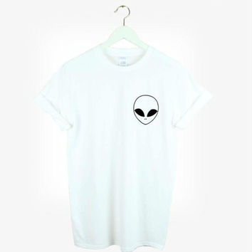 New Women Tshirt Alien Pocket Print Cotton Funny Casual Hipster Shirt