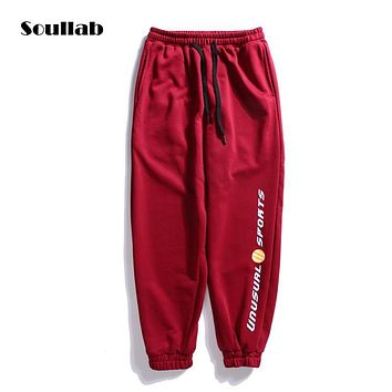 soullab autumn winter new bottoms sweat sweatpants track jogger pants trousers for men women side-stripe skinny fit vintage sale