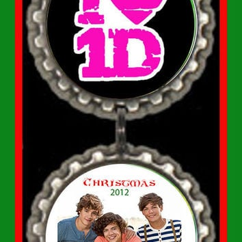One Direction Christmas Ornament  - Holiday bottlecap Ornaments 1D 1direction