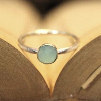 Stacking Ring - Rose Cut Aqua Blue Chalcedony Stack Ring in Sterling Silver, Custom Made to Your Size