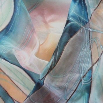 """Pastel hand painted art silk scarf. In light shades of glacier gray, aquamarine, salmon, sky blue, lucite green, rosy brown. 18"""" x 71"""""""