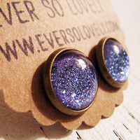 purple lavender summer night starry skies - handmade blue violet round earrings sparkly metallic nickel free post