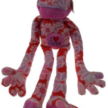 Flower Power Frog I Love Cheer Hanging Plush Embroidered Red Cheerleading