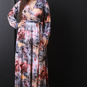 Paint Abstract Print Surplice Long Sleeves Maxi Dress