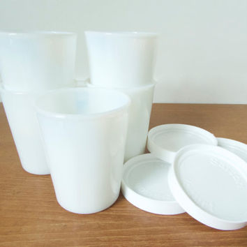 Five milk glass Salton yogurt cups with four lids, seven ounce capacity
