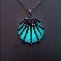 Glow in the Dark Pendant, Aqua Glowing  Shell Necklace, Glowing Jewelry, Gift for Her, Gift ideas