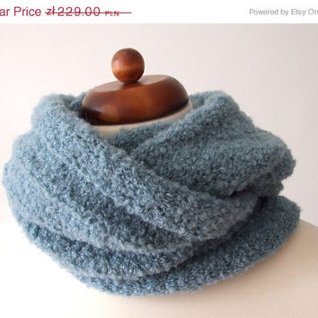 ON SALE knit circle scarf loop scarf infinity ocean green alpaca