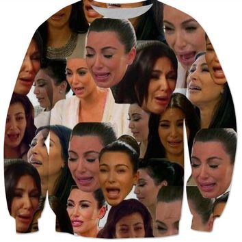 Newest Women/Men Casual Long Sleeve Sportshirts 3d Printed kim kardashian crying meme Sweatshirt Harajuku Pullovers Hoodies W175