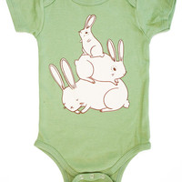 Bunny Onesuit Bunny Baby Shower Gift – Green Baby Shower Gift Green Baby Clothing Gender Neutral Baby Clothing