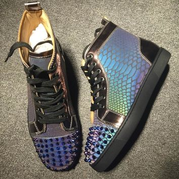 Cl Christian Louboutin Lou Spikes Style #2185 Sneakers Fashion Shoes