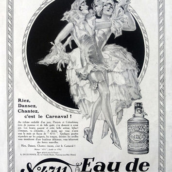 Eau de Cologne 4711 vintage advertising, French carnival retro perfume poster, original print art deco advertisement French magazine 1928