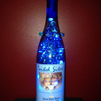 Sweet Baby Blues,  Wine Bottle Lights Stones Glass Beads Bracelet (removable) , Twisted Sister Label , Battery Operated