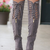 Thigh High Grey Suede Boots