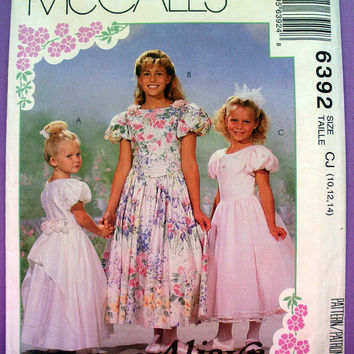Girls' Special Occasion Dress with Petticoat Girls' Size 10, 12, 14 McCall's 6392 Sewing Pattern Uncut