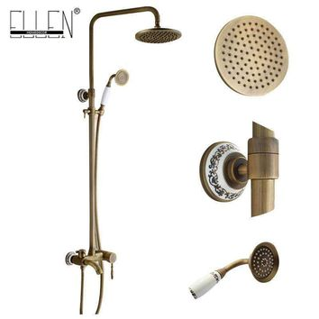 Wall Mounted Bathroom Rain Shower Set Antique Bronze Rainfall Shower +Hand Shower