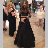 2017 Sexy Black Two Pieces Prom Dress with Long Sleeves See Through Party Gowns Beautiful A Line Formal Pageant Evening Dresses