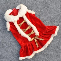 2017 New arrive Pet dog cat puppy clothing Christmas dress classicred dress in autumn and winter clothing