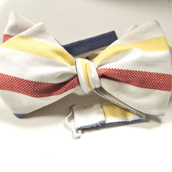 Easter Bow Tie for Men and Boys White Red  Blue and Yellow Stripes Urban Fashion for Men and Boys